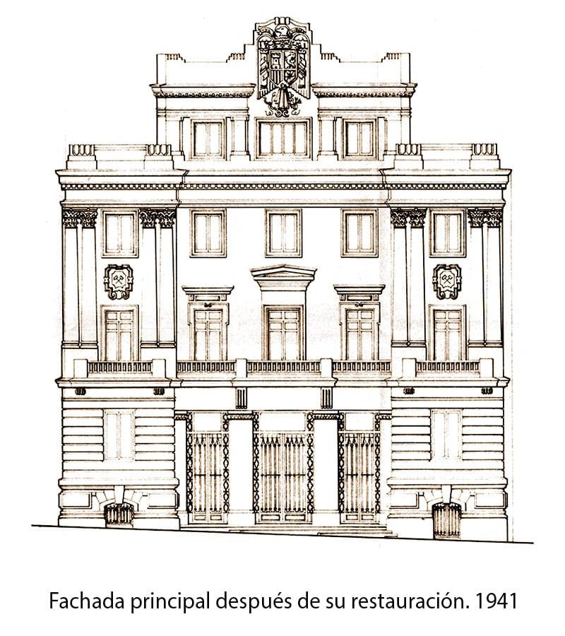 Fachada del plano del edificio.1941