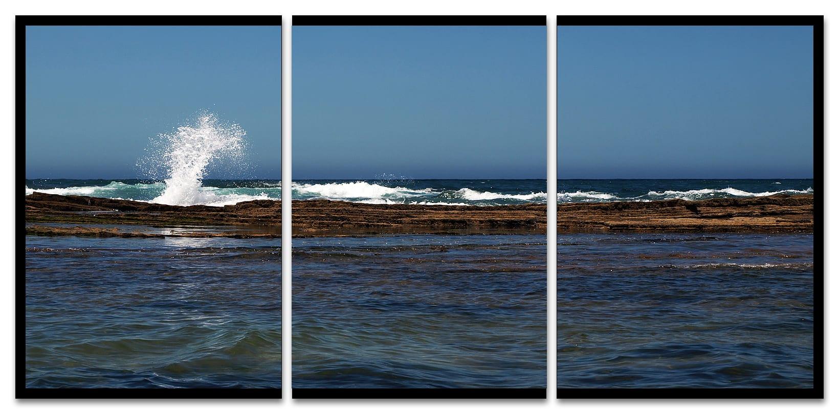 La ola. Tríptico. Praia de Monte Clérigo