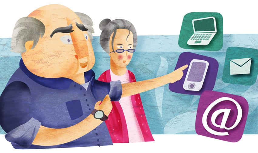 Ilustración Fabián Rivas para Guía de Pensionistas del ISM