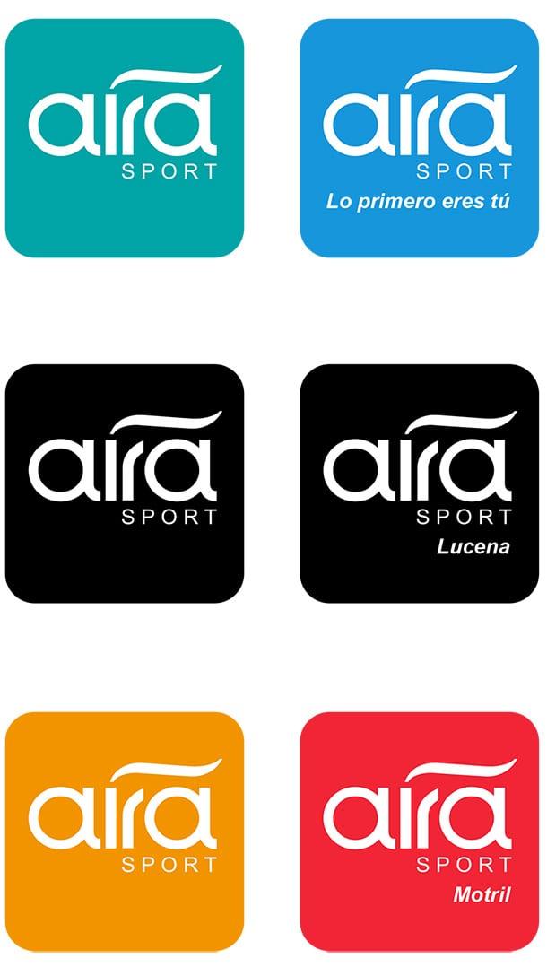 Logotipo AIRA SPORT sobre fondos de colores