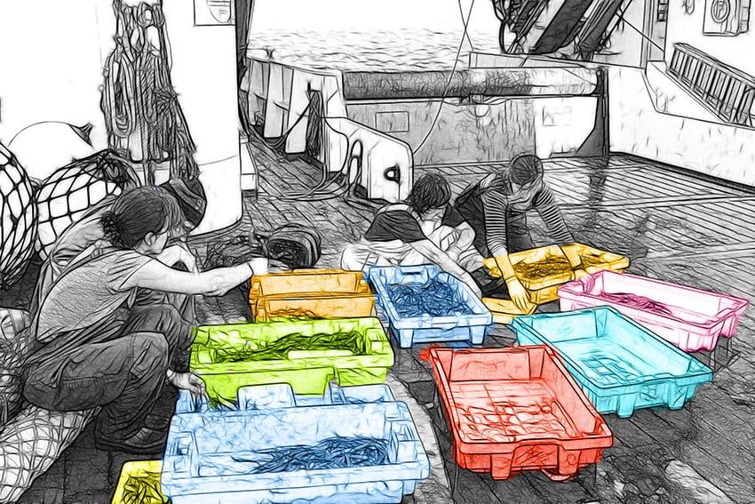 Trabajadoras en barco. Fotografía pasada a dibujo y coloreada